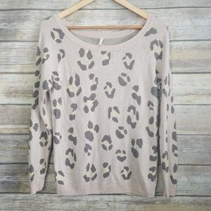 Willow and Clay Anthropologie Pink Cheetah Sweater